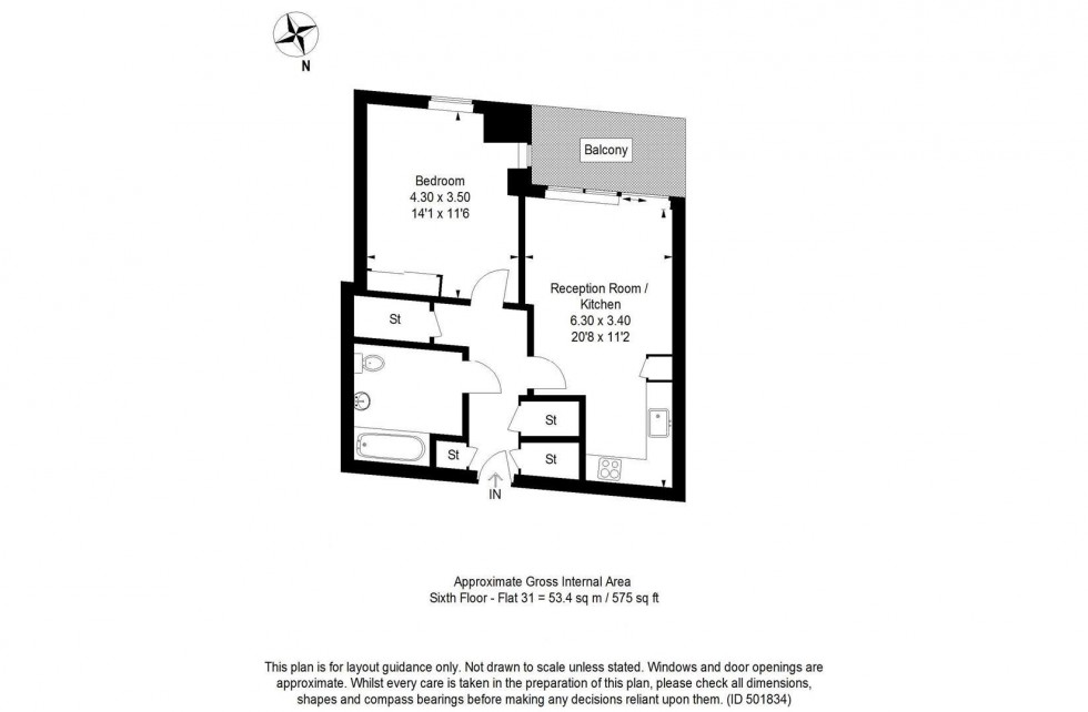 Floorplan for Pinto Tower, Hebden Place, SW8